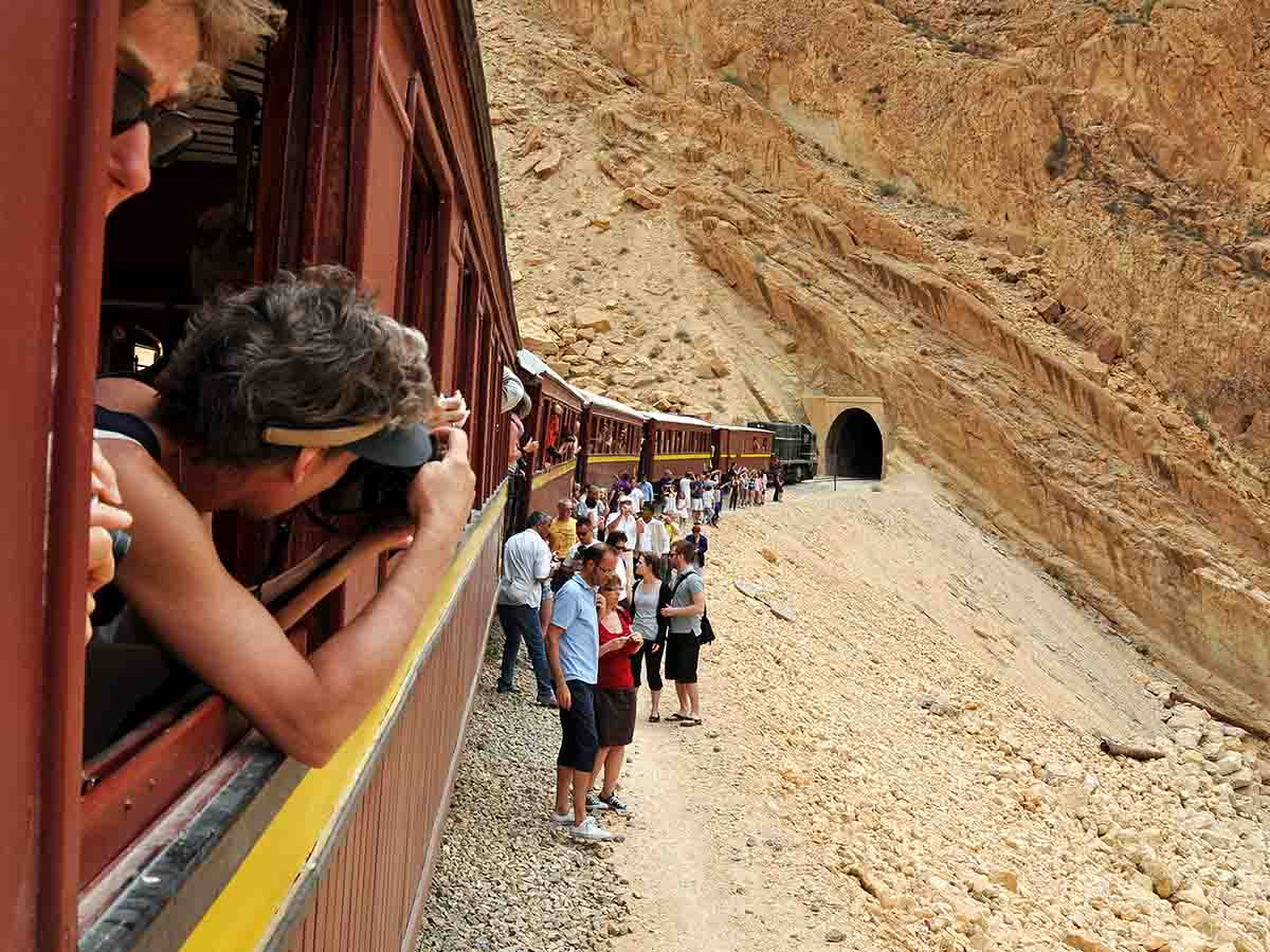 Passengers on Red Lizard Train